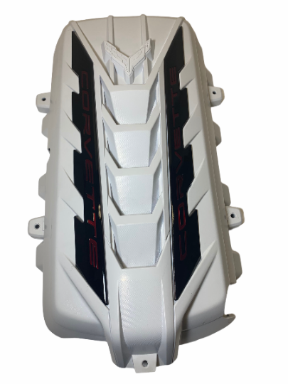 Custom Hydro Dipped 2020+ Corvette Engine Cover  White  w/corvette Red