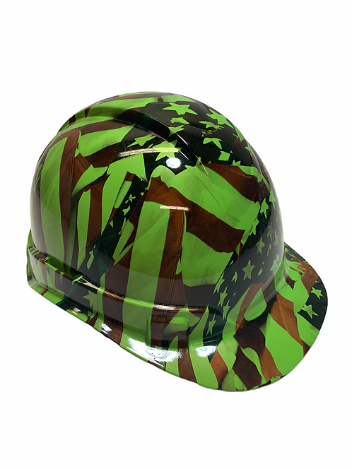 Green American Flags Ridgeline Cap style Hard Hat
