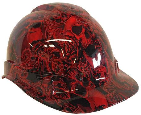 Red Filigree Skulls Hard Hat