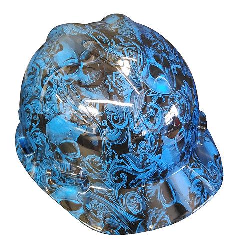 MSA V Guard Cap Style Blue Filigree Skulls