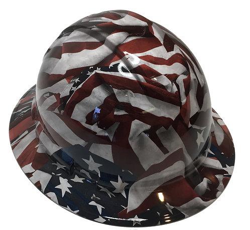 Vintage American Flag Ridgeline Full Brim Hard Hat