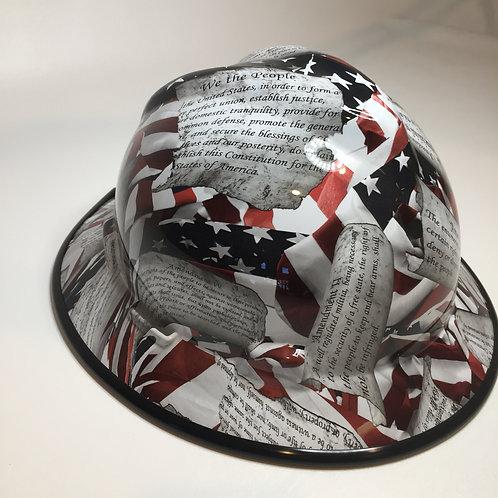 Amendments American Flag High Gloss W/Black EdgeGard MSA V-Gard Full Brim