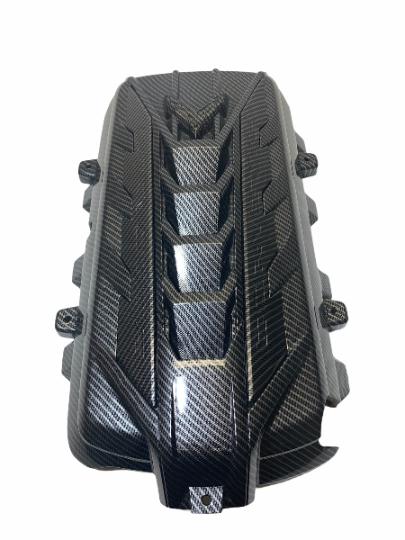 Custom Hydro Dipped 2020+ Corvette Engine Cover  Carbon Fiber w carbon fiber let