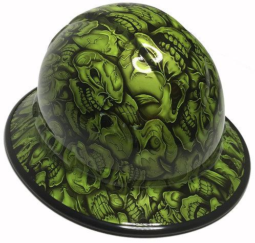 Full Brim Sublime Green Insanity Skulls W/Black EdgeGard