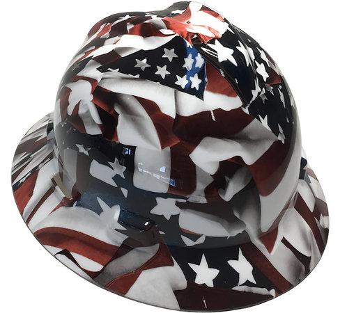 American Flag High Gloss MSA V-Gard Full Brim