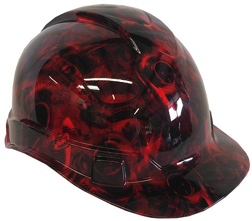 Red Turbos & Pistons Hard Hat