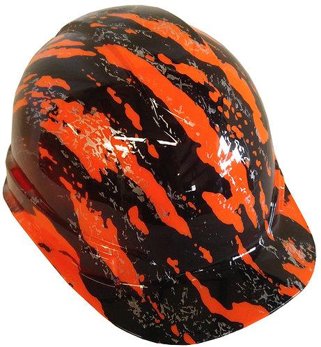 Orange Marble Splash Hard Hat
