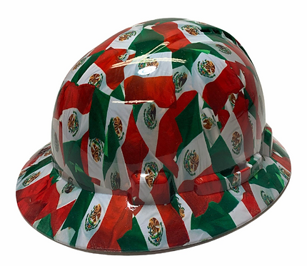 Hydro Dip Mexico Flag Lift Briggs HBFC-7G Full Brim Vented Hard Hat High Gloss