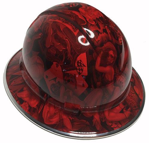 Full Brim Red Naughty Boy W/Chrome EdgeGard