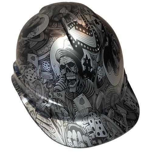 Silver Metallic Gambler Satin Ridgeline Cap Style