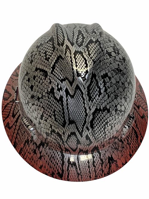 Custom Silver Metallic Snakeskin over red brim Hard Hat MSA V-Gard  Full Brim
