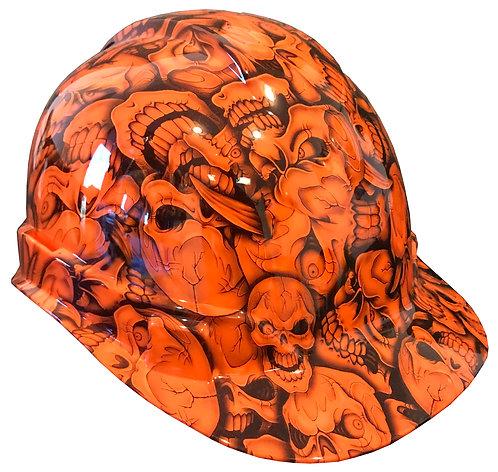 Orange Insanity Skulls Hard Hat