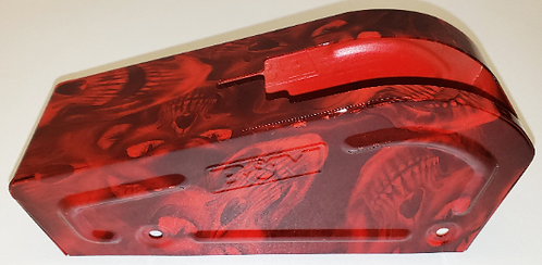 B&M Shifter Cover Red Hades Skulls Hydro dipped
