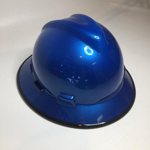 Speedway Blue High Gloss W/Black EdgeGard MSA V-Gard Full Brim