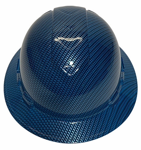 Teal Blue Carbon Fiber Dipped Vented Ridgeline Full Brim