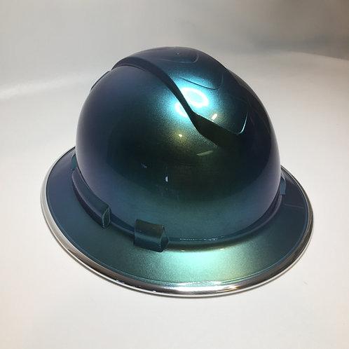 Full Brim Blue/Green Cameleon W/ chrome EdgeGuard