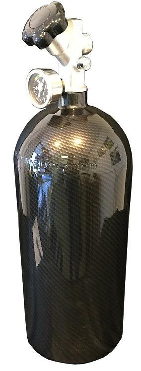 15lb Hydro Dipped Black Carbon Fiber NOS Bottle W/Super Hi-Flow Valve 14750BNOS