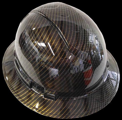 Black Gold Carbon Fiber Full Brim Hard Hat
