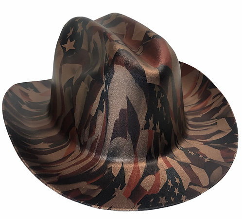 Hard Hat Kimberly Clark Outlaw Copper Metallic American Flags Patriotic Series