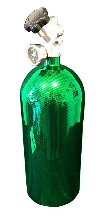 15lb HYDRO DIPPED NOS Bottle Kandy Green Carbon Fiber W/Hi-FlowValve 14750BNOS