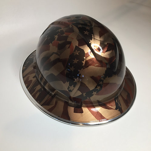Full Brim Copper Metalic American Flags W/ Chrome EdgeGard