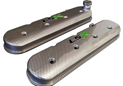 LSX Hydro Dipped Carbon Fiber Valve Covers 241-405 W/Black LS Green X