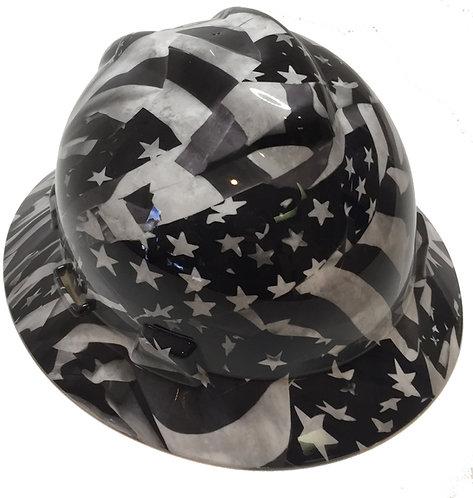 White Midnight American Flags High Gloss MSA V-Gard Full Brim