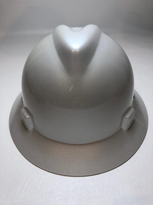 Pearl White High Gloss MSA V-Gard Full Brim