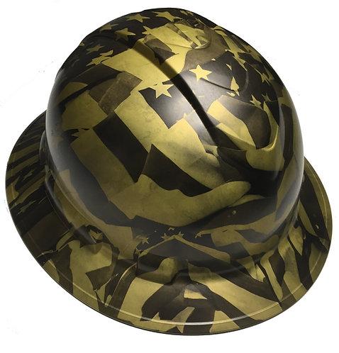 Rudgeline Full Brim Gold Metalic Midnight Flags Satin