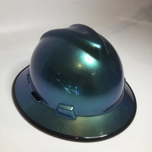 Blue Green Chameleon High Gloss W/ Black EdgeGard MSA V-Gard Full Brim