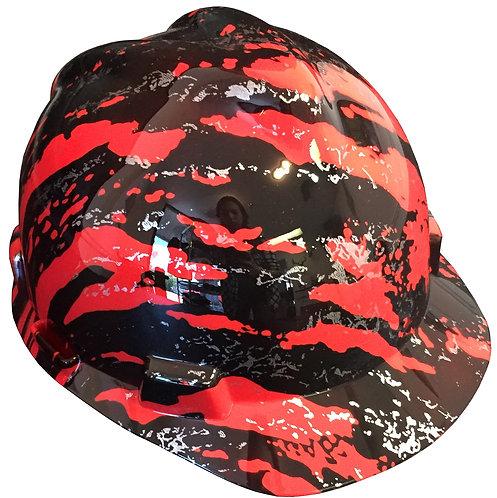 MSA V Guard Cap Style Red Marble Splash
