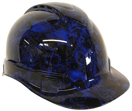 Dark Blue Filigree Skulls Hard Hat