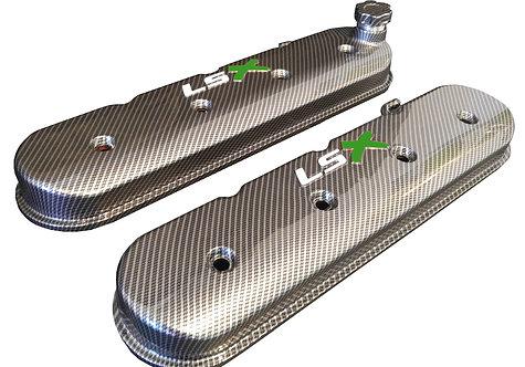 LSX Hydro Dipped Carbon Fiber Valve Covers 241-405 W/White LS Green X