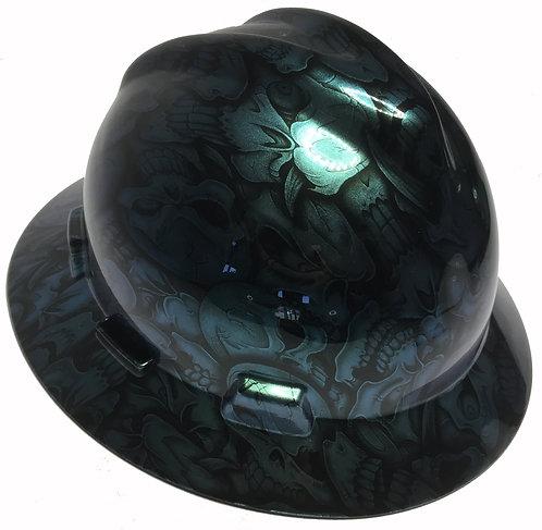 Blue Green Chameleon Insanity Skulls High Gloss MSA V-Gard Full Brim
