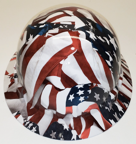 Traditional American Flags Lift Briggs HBFC-7G Full Brim Vented Hard Hat High