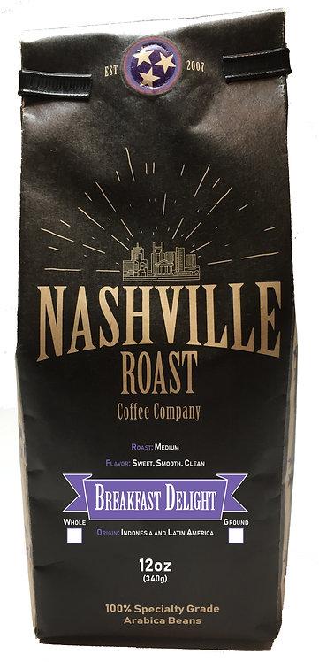 Nashville Roast Coffee Company Breakfast Delight, Whole Bean, 12 Oz Bag