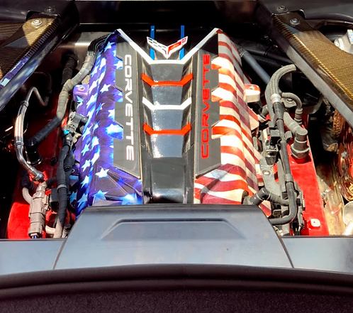 Custom Hydro Dipped 2020+ Corvette Engine Cover Stars and Stripes w red or white