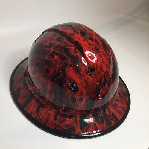 Full Brim Red Flames W/ Black EdgeGuard