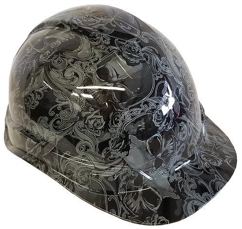 Light Grey Filigree Skulls Hard Hat