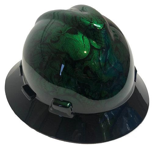 Kandy Green Stainless Steel Insanity Skulls W/ Black Brim MSA V-Gard Full Brim