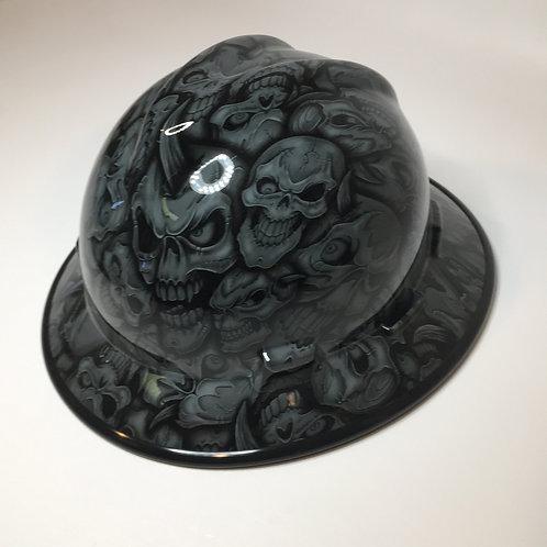 MSA V Guard Full Brim Navy Grey Insanity Skulls W/ Black EdgeGuard