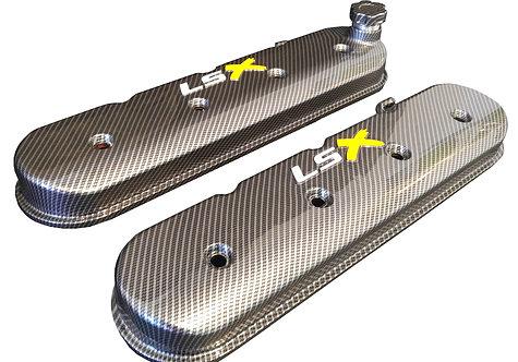 LSX Hydro Dipped Carbon Fiber Valve Covers 241-405 W/White LS & Yellow X