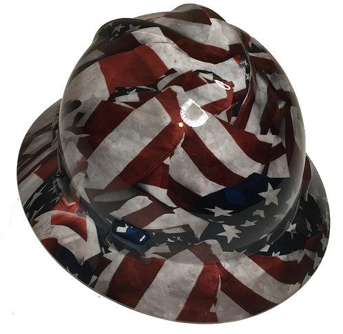 Vintage American Flags High Gloss MSA V-Gard Full Brim