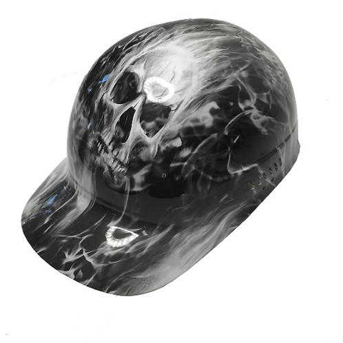 White Flaming Skulls Bump Cap