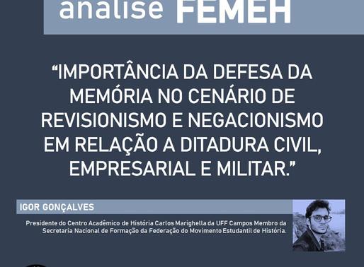 Defesa da memória no cenário de revisionismo e negacionismo em relação a Ditadura Militar.