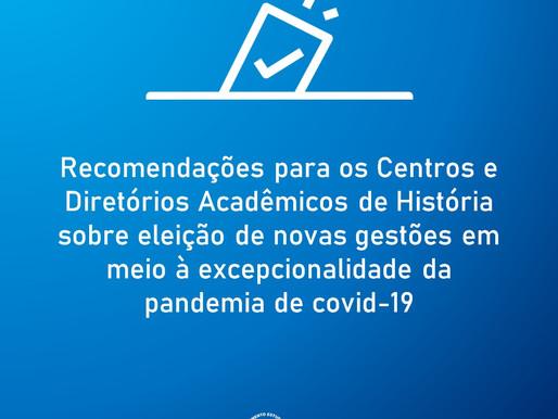 Recomendações para os Centros e Diretórios Acadêmicos de História sobre eleição de novas gestões