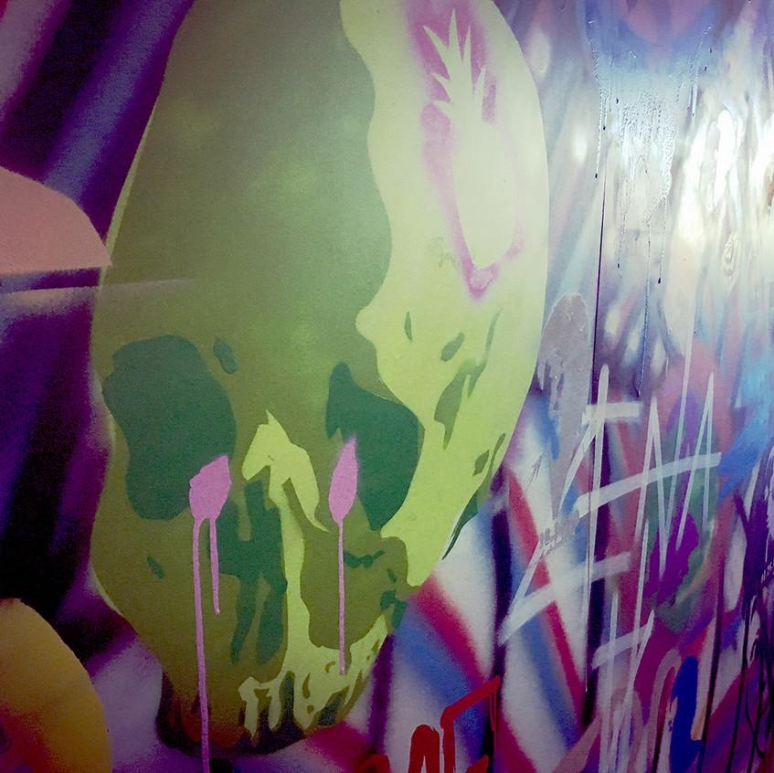 Stencilled skull