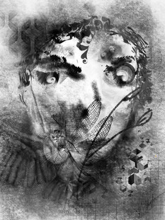 Demented Sadness - Procreate drawing using charcoal brush and various other brushes
