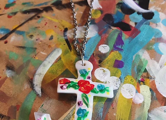 Painted Floral Shell Anchor necklace