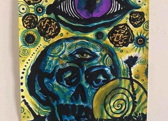 Blue Portal Skull A3 Original